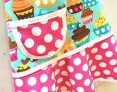 Cupcake Girl's Apron, Kids Apron, Toddler, Childs Apron, Pretend Play Kitchen, Turquoise, Pink, Bakery Apron - CUPCAKE LOVE