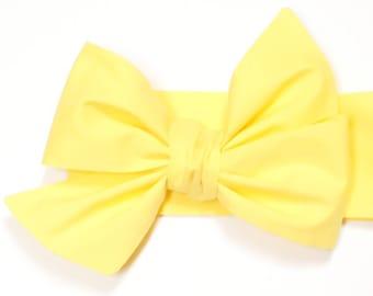 Yellow headwrap, Girls Headwrap, Baby Headwrap, Head Wrap, Girls Headband, Big Bow Headwrap, Photo Prop, Lemon, Buttercup - SOLID YELLOW