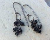 Black stone Earrings, black sterling silver hoop earrings, handmade jewelry, handmade earrings, artisan jewelry by AngryHairJewelry