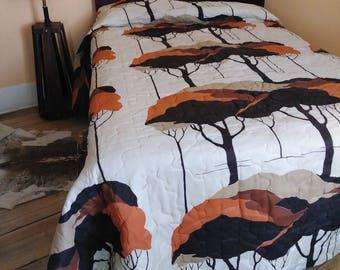 Vintage 1970s Bedspread Quilt 70s Throw Mod MCM Trees Queen