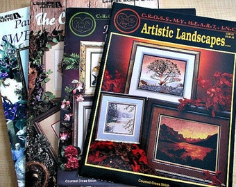 4 Cross Stitch Booklets - Paula Vaughan Sweet Violets - Landscapes - Hummingbird - Changing Seasons - Cross Stitch Pattern Lot