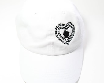 Low Profile Full Coverage Dad Hat - Love to Bike Wisconsin black on white