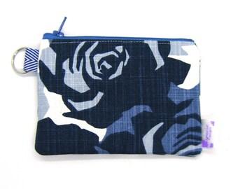 Coin Purse / Change Purse / Coin Pouch / Gadget Pouch - Indigo Blue Geometric Floral
