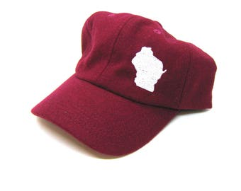 Clearance - Sale - Gift - Gracie Designs Hat - Wisconsin off-center on Red Felt Baseball Cap