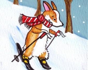 "PEMBROKE WELSH CORGI Skis Art Print Corgi Christmas Corgi Art Print ""Little Skier""  Dog Art Dog Lovers Gift Holiday Print Christmas Snow"