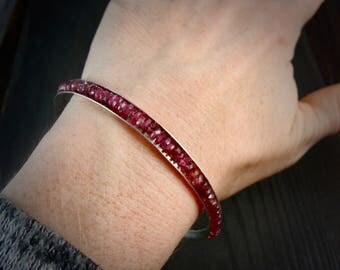 pink tourmaline skinny bangle