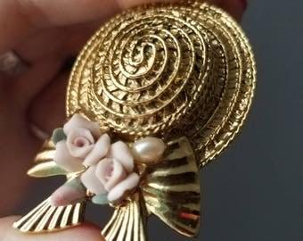 Large Vintage Gold Color Straw Hat, Porcelain Rose and Pearl Bow Brooch