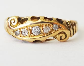 Edwardian Five Diamond Eternity Ring, 18k Gold Scroll Ring Approx. Size US 5.25