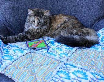 Blue and Gray Pet Bedding, Pet Bedding, Pet Accessories, Pet Couch Cover, Pet Furniture Cover, Pet Comforter, Pet Bed, Pet Travel Blanket