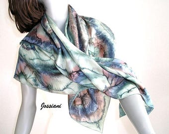 Silk Square Scarf, Hand Painted Square, Unique Square Scarf, Hand Dyed Wrap, Earth Tones Scarf, Sage Black Brown, Artisan Made, Jossiani