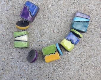 raku beads, abstract design, funky