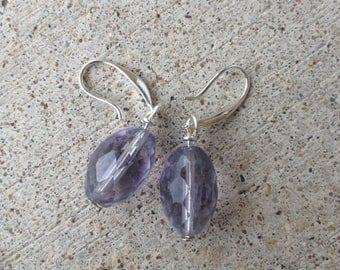dangle earrings, fluorite earrings,fluorite stone, purple