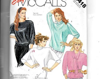 McCalls' Misses' Tunic or Top and Scarf Pattern 3418