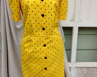 SALE- Vintage Eighties Dress-Polka Dot-Yellow and Black