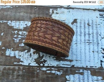 CRAZY SALE- Custom Leather Cuff-Create Your Own-Vintage Tooled Leather-Word Cuff-