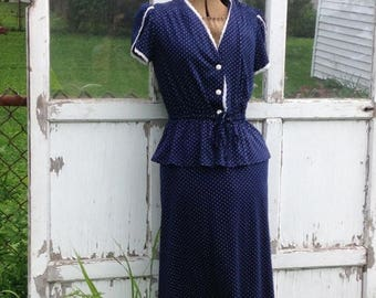 CRAZY SALE- Navy Two Piece-Polka Dots-Size 13-Skirt and Top-Polyester