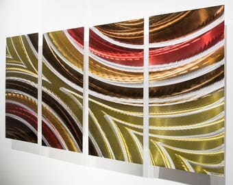Gold, Red & Brown Modern Metal Wall Art Sculpture, Abstract Wall Painting, Contemporary Decor, Metal Wall Hanging - OOAK 832 by Jon Allen