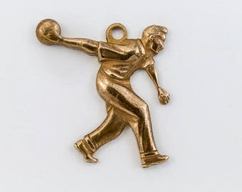 20mm Antique Brass Bowling Charm #CHA091