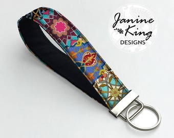 Colorful Boho Fabric Key Fob, Keychain Wristlet, Key Holder, Key Chain, Fabric Keychain, Wrist Key Holder Asian Bohemian Jewel Tones  MTO