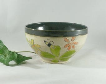 Ceramic Salad Bowl, Personal size, Save the Bees, 24 ounces, soup bowl, salad bowl key bowl serving dish pottery and ceramics 854