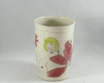 Ceramic Tumbler, No handle teacup, 4th Anniversary Gift flower vase, pencil cup, toothbrush holder, wine tumbler or cup, utensil holder 951