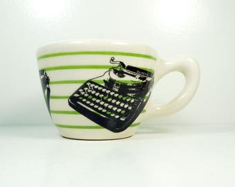 a 12oz cup painted in green pinstripes with Olivetti typewriter prints READY to SHIP