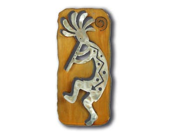 Kokopelli Flute Cut Out Southwest Wall Art - Left Facing - Brown Rust and Silver Finish