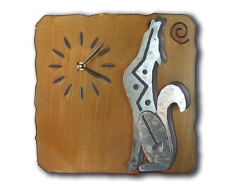 Coyote Wolf Southwest Cutout Wall Clock - Brown Rust Finish