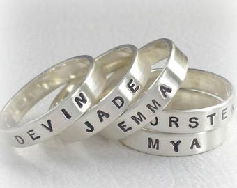 ON SALE TODAY Personalized Stacking Rings, Hand Stamped, Customized Jewelry, Sterling Silver