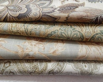 CLEARANCE - 4 pieces pale green blue linen blend fabrics, 10 x 10 inches