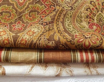 CLEARANCE - 3 pieces rust brown woven fabrics, 10 x 10 inches