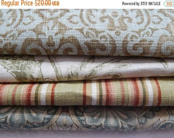 CLEARANCE - 4 pieces green multi woven fabrics, 10 x 10 inches
