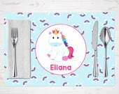 Rainbow Unicorn Placemat, Child's Placemat, Personalized with Child's Name, Custom Place Mat - Blue Rainbow Stars Clouds, Placemat for Kids