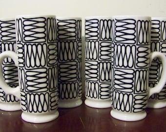 Vintage Holt Howard Black & White Tall Footed Mugs Set of 6 Smokestack Style Irish Coffee 1960's