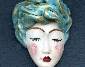 NEW ! OOAK Polymer Clay One of a kind Detailed White  Face with Textured Hat AST  1
