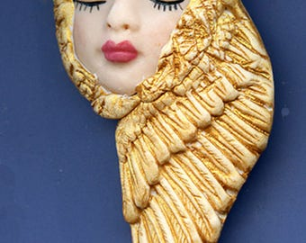 OOAK Polymer Clay Face with Golden Wings  Art Nouveau    AGAN 3