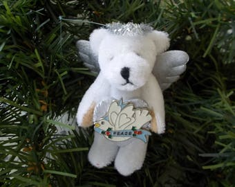 Angel Bear with Silver Peace Heart Halo and Wings Christmas Tree Ornament Miniature Collectible Bear Ornament