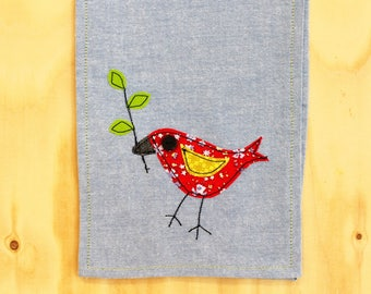 Light blue table runner with red applique bird SALE