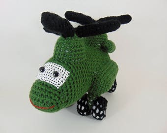 Ch47 F Chinook helicopter ,  Crocheted Amigurumi Military Ch 47 F Helicopter , stuffed helicopter toy  (MADE To ORDER)