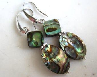 CIJ SALE Abalone Earrings, Paua Shell Earrings, Irridescent, Silver, Under 25, Gifts for Her, Shell Earrings.