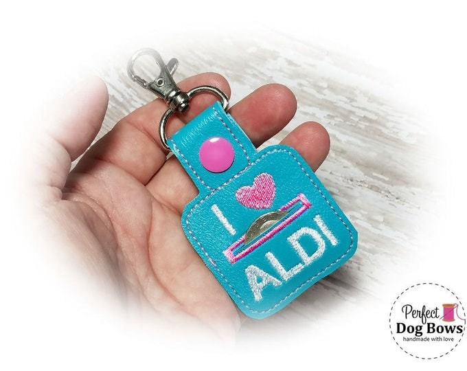 Turquoise Quarter Keeper, Coin Holder Keychain, I heart Coin Holder, Turquoise Coin Keeper, Quarter Holder Key Fob
