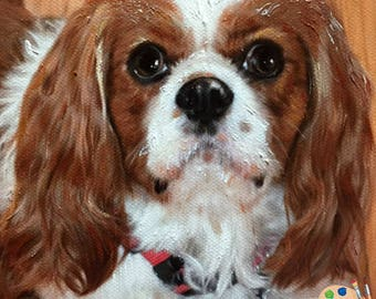 Custom Pet Portraits , Dog Portraits,  Cavalier King Charles Dog Oil Portraits on Canvas or as Canvas Prints