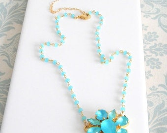 SALE Aqua Blue Chalcedony Rosary Necklace