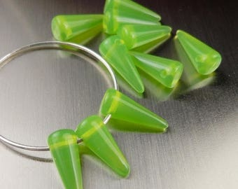 50% OFF Clearance 10 Opal Lime Green Czech Pressed Glass Beads 13mm Spike G-323