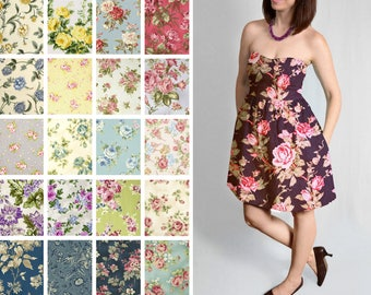 Strapless Floral Custom dress  – Fit and Flare knee length with Pockets – Bridesmaids Rustic Country - Comfortable
