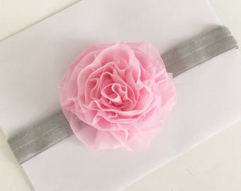 Shabby chic headband ... made to match any of our baby outfits--- pink and grey