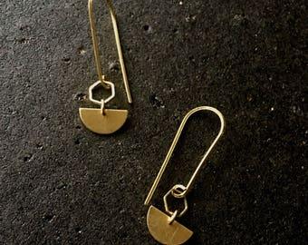Minimalist Brass Hoop Gemstone Earrings -Minimalist Earrings - crescent moon Earings - Boho Earrings - Modern Free Shipping