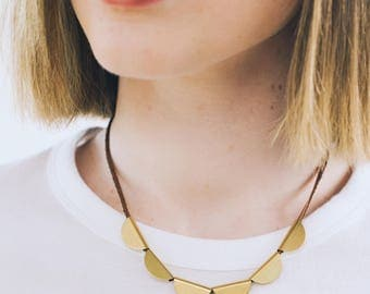 Half Moon Brass and Leather Necklace,Half Circle Necklace,  Crescent Necklace,Modern Necklace, Leather and Brass Necklace,