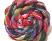 Merino Silk Blend Combed Wool Top Spinning Felting Fibre Combed Top - Christmas in July 100g