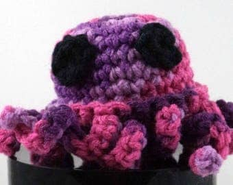 Crocheted Purples and Pinks Octopus Plush with Black Eyes